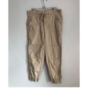 LOFT Khaki Joggers with Tie Waist Size 0